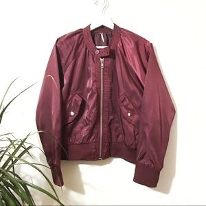 Free People Burgundy Midnight Bomber Jacket